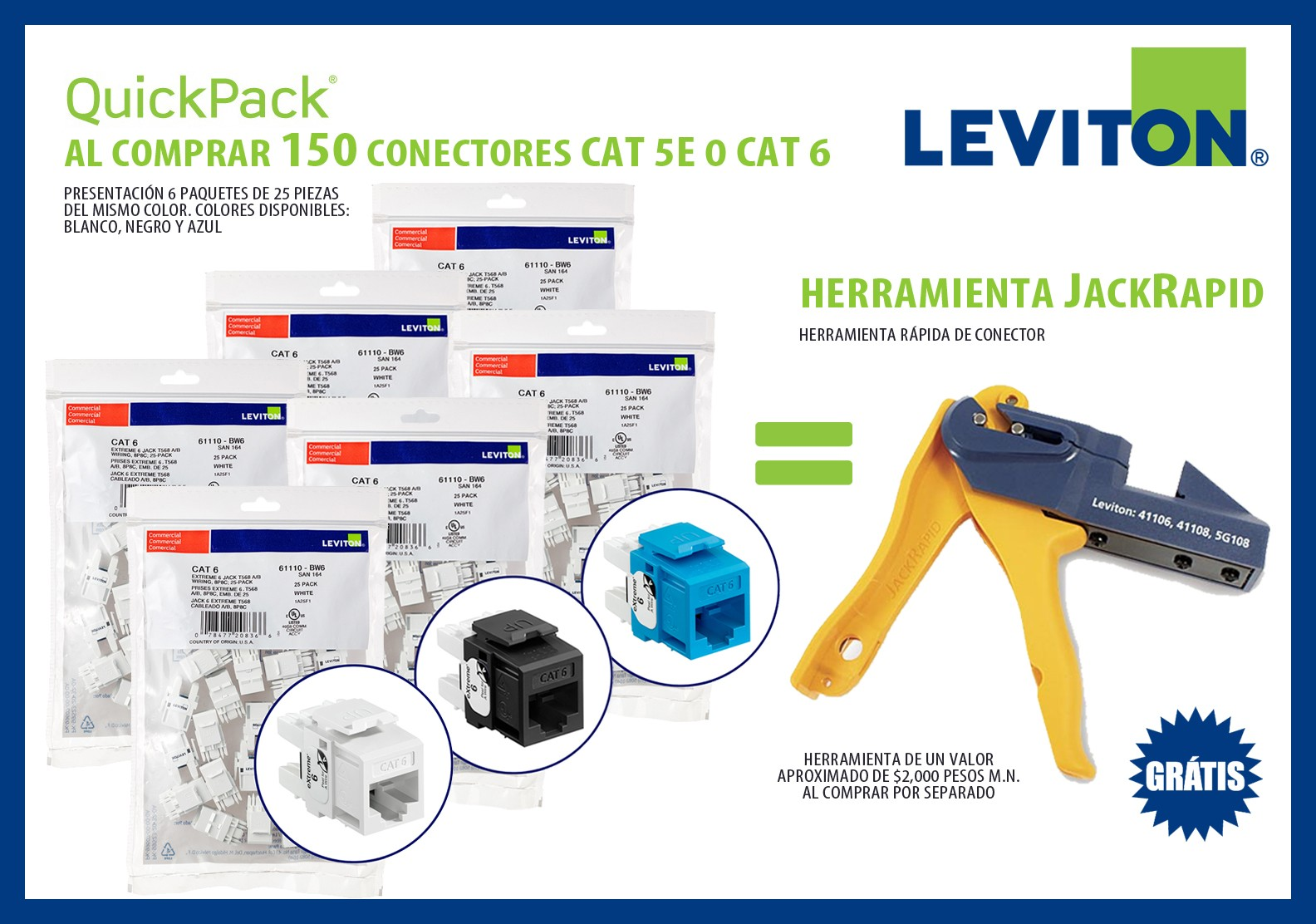 LEVITON KIT 150 JACKS CAT 6
